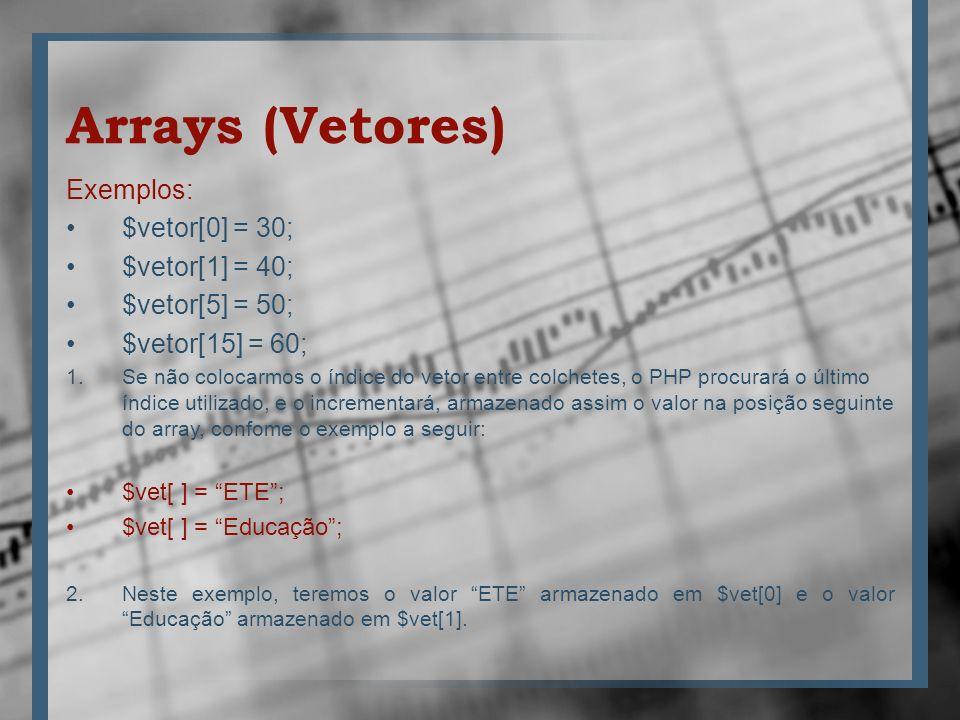 Arrays (Vetores) Exemplos: $vetor[0] = 30; $vetor[1] = 40;
